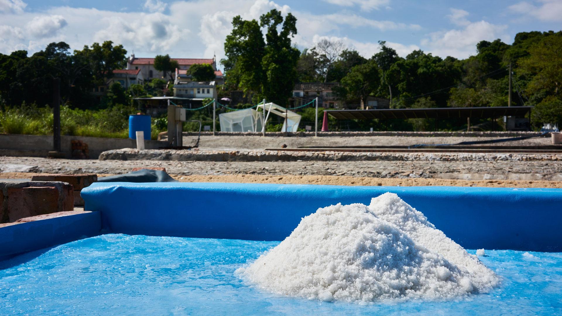 Pile of salt on salt pan of Yim Tin Tsai